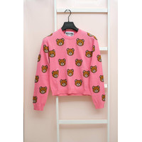 Moschino All Over Logo Jumper Pink For Women