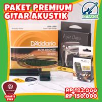 Paket Aksesoris Gitar Akustik Senar Daddario Capo Import Premium