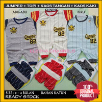 Baju Setelan Jumper Bayi Baru Lahir Laki-laki 0-6 Bulan Motif Champs