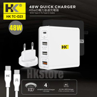 WALL CHARGER HANDPHONE 4USB TC-D23 48W QC3.0 VOOC TYPE-C TO TYPE-C
