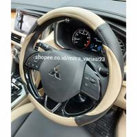 sarung stir sarung setir mobil kulit bahan MBtech - cream hitam