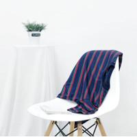 Kaos Stripe Pria 100% Premium Cotton Kaos Belang-Belang Navy Classic