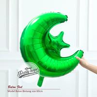 balon foil star moon hijau / balon foil bulan bintang hijau / balon