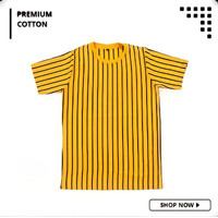 Kaos Vertical Stripe Pria 100% Premium Cotton Belang-Belang Mustard