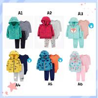 Set jaket jumper celana 3 in 1 anak bayi motif kitty truck dino - A1, 6M