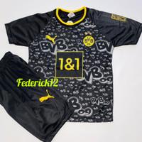 Bisa COD/Stelan baju bola anak Dortmund hitam termurah Jersey terbaru - Dortmund hitam, 4