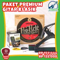Paket Aksesoris Gitar Klasik Senar Nylon Daddario Capo Import Premium