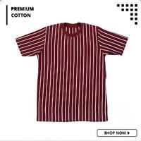 Kaos Vertical Stripe Pria 100% Premium Cotton Belang - Belang Maroon