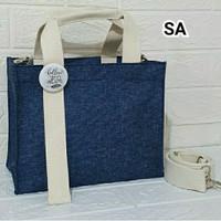 Tas custom initial nama korea marhen j kanvas canvas mini bag - Coklat