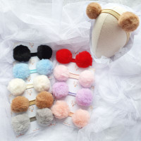 S2S Fur Pompom - Bandana anak bayi bando anak jepitan rambut cantik - Clip/psg, Baby pink