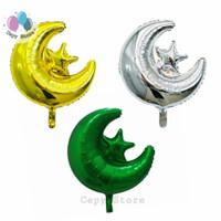 Balon Foil Star Moon / Balon Foil Bulan Bintang - Hijau