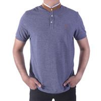 POLO - 7299 Stand Collar Blue Shirt