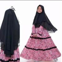 Gamis anak kids hijab syari bergo muslim flower bunga 9 10 11 12 tahun