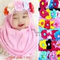 Jilbab hijab kerudung anak bayi set bando bunga lucu murah/ashafina