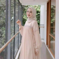 Gamis Wanita Size L, XL, XXL / Gamis Pesta Renda Import / Baju Muslim