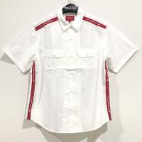 Supreme Logo Rib SS Work Shirt White 100% Original