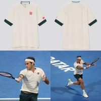 Uniqlo Roger Federer 2021 Tenis Tennis MEN DRY-EX POLO SHIRT putih