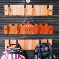Gantungan baju Kapstok kayu dinding unik minimalis lipat model zigzag