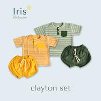 IRIS - Setelan baju bayi set Anak Salur Kuning Mustard Hijau 2-4 tahun