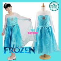 Gaun Anak Princess Elsa Frozen Dress Perempuan Baju Import - 110