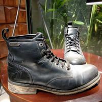 Sepat Boots Kulit Harley Davidson Hitam Original Ukuran 10.5