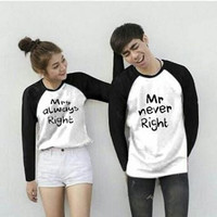 Beli 1 Dapat 2 Baju Kaos Couple Kaos Cowok Cewek MARMAR - Putih Navy