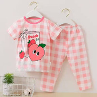 baju tidur lengan pendek celana panjang anak perempuan/piyama import b - 60
