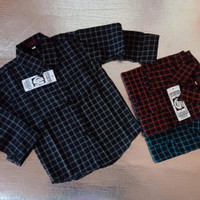 Kemeja Flanel Motif Kotak Anak Laki laki/Atasan Baju Anak 1-12 Tahun