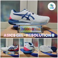 Sepatu Tenis ASICS GEL - RESOLUTION 8 2021 - White/Mako Blue - 40