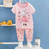 baju tidur lengan pendek celana panjang anak perempuan/piyama import e - 65