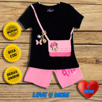Loveumom Baju Setelan Anak Perempuan Murah Minnie Bag Hitam 1-10 Tahun - 1 Tahun