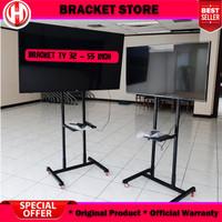 Bracket Standing TV LED Dorong & Roda 32 - 65 Inch - Hitam