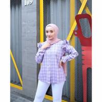 kemeja kotak lengan panjang wanita/Blouse top/Atasan baju warna lilac