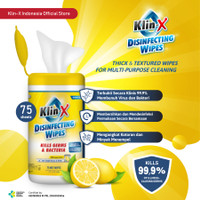 Klin-X Disinfecting Wipes Canister (Isi 75)- Lemon Scent (READY STOCK)
