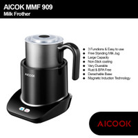 AICOOK MMF-909 Milk Frother Electric for Hot and Cold MilK
