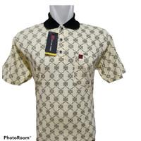 Kaos Polo Pria Bahan Katun Adem Motif Batik & Jangkar & Daun/Size XL - batik, Kuning