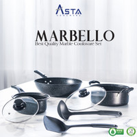 New Marbello Cookware Set - Panci Set Teflon Anti Lengket Isi 7 Pcs