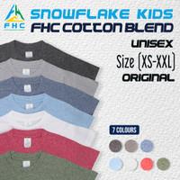 KAOS POLOS ANAK/KIDS FHC SNOWFLAKE 30s ORIGINAL PREMIUM QUALITY - Matte Black, XS 4-5thn