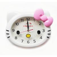 jam dinding besar kepala hello kitty pita pink
