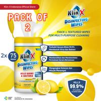 Klin-X Wipes Tissue Tisu Basah Disinfektan 2x 75 Sheets - Lemon Scent