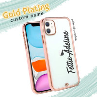 gold plating custom nama case iphone 6 7 6s 8 plus x xs xr max 11 12