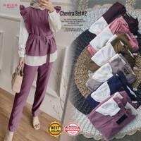 Baju Fashion Setelan Wanita Muslim Atasan & Celana Chevira 2 Set