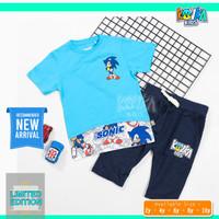 Baju Kaos Oblong Dan Celana Pendek Anak Cowok Umur 2 4 6 8 10 Tahun - Sonic, 2