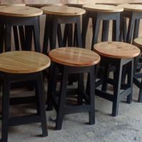 Kursi Bulat Kayu Jati belanda bangku janda natural dekor bakso kafe