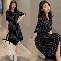 Dress Wanita Katun Lengan Panjang/Long Kemeja/Baju Menyusui/Ibu Hamil