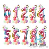 Balonasia Set angka rainbow unicorn - 1