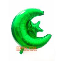 Balon Bulan Bintang Hijau / Balon foil Star Moon / Dekorasi Lebaran