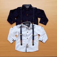 Kemeja bayi laki laki / anak cowok putih import & suspender branded