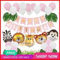 Paket Dekorasi Hiasan Balon Ulang Tahun / Happy Birthday Animal Binata
