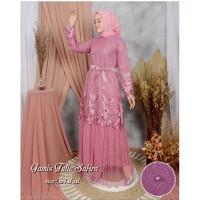 Gamis Maxi Dress Baju Muslim Pesta Terbaru Brukat tulle Safira